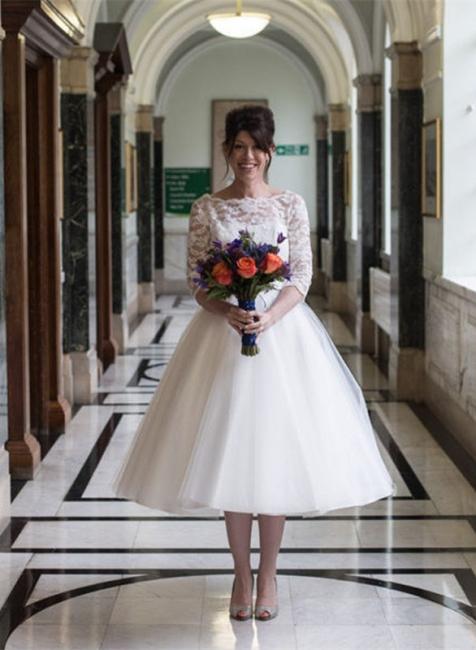 Weiß Brautkleider Kurz Mit Spitze Lang Ärmel Hochzeitskleider