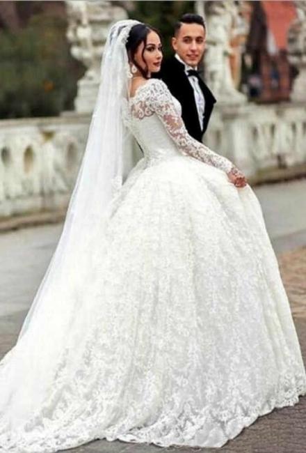 Luxury wedding dresses with sleeves | Lace wedding dresses princess