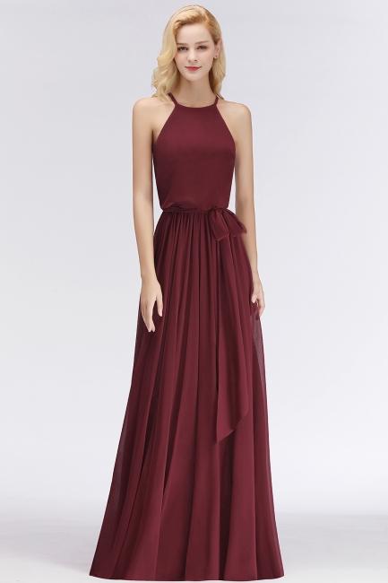 Designer Brautjungfernkleider Lang Chiffon Dunkel Rot Kleider für Brautjungfern