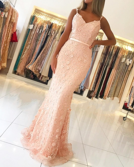 Luxury evening dresses long pink | Prom dresses lace online