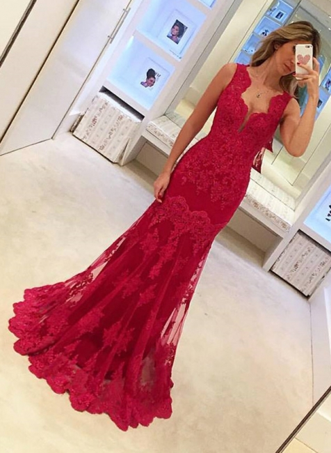 Red Evening Dresses Long Cheap Lace Mermaid Evening Wear Prom Dresses