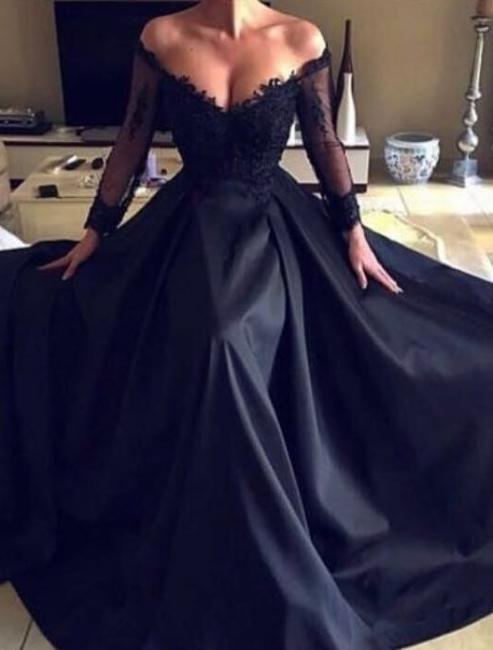 Elegante Schwarze Abendkleider Lange Ärmel Spitze Abibllkleider Günstig