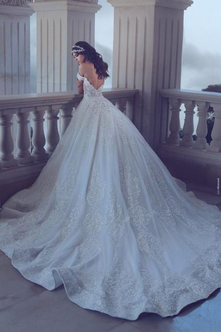 Designger Wedding Dresses With Lace Off Shoulder A Line Chapel Train Wedding Gowns Cheap
