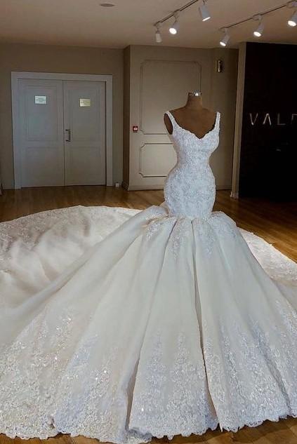 New Wedding Dresses Cream With Lace Mermaid Wedding Dresses Online