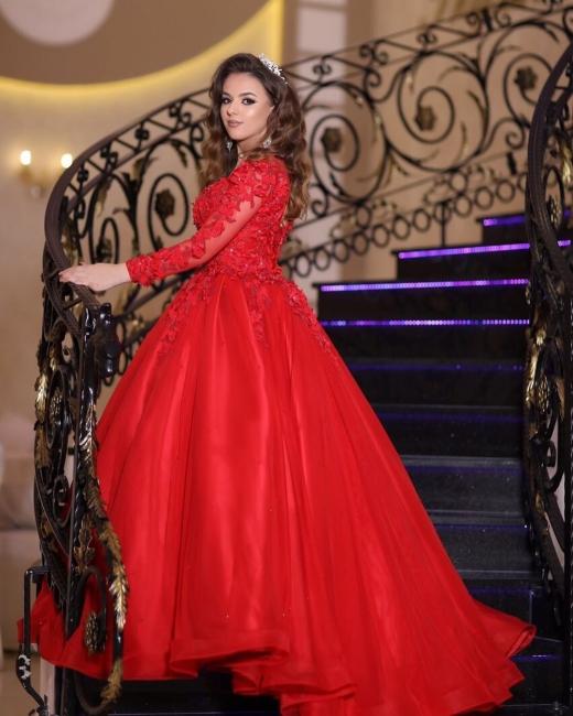 Preiswerte Hochzeitskleider Rot | Prinzessin Brautkleid Mit Spitzeärmel