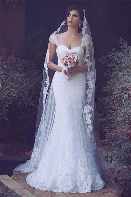 Meerjungfrau Weiß Brautkleider Spitze Lang Hochzeitskleider Günstig Online