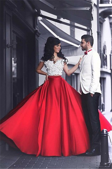 2 piece evening dresses red white long with lace cheap evening wear