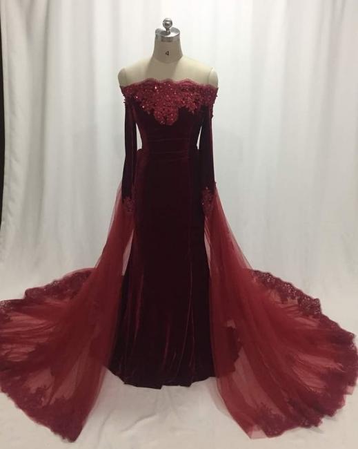 Elegant Wine Red Evening Dresses Long Sleeves Velvet Prom Dresses Cheap Online