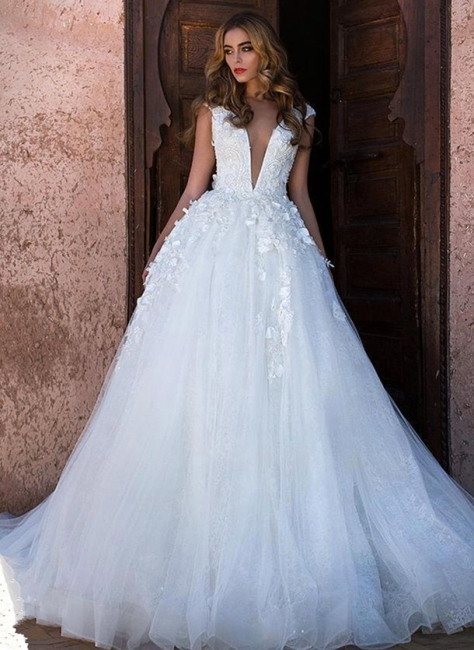 Simple wedding dress A line | Wedding dress princess glitter tulle