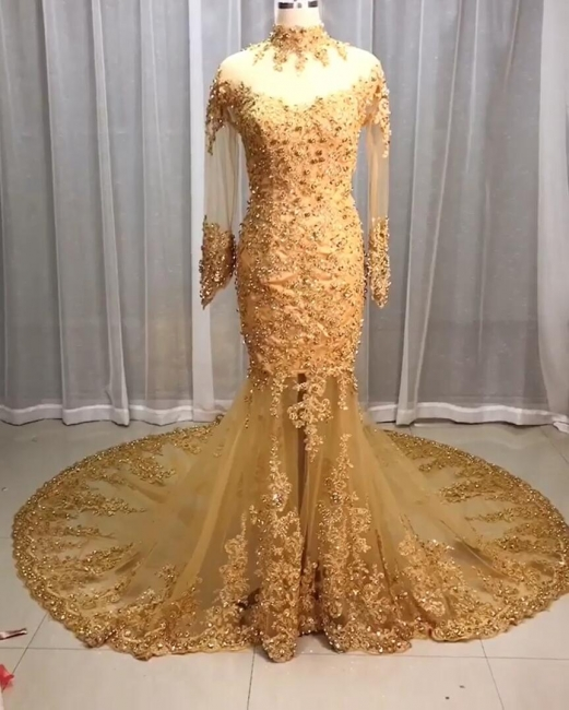 Luxury Wedding Dresses Lace Gold | Wedding dresses with sleeves glitter