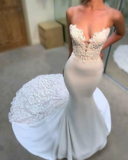 Weiße Hochzeitskleider Mit Spitze Meerjungfrau Brautkleider Online Kaufen