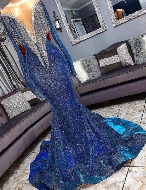 Elegant prom dresses long glitter | Evening dresses with sleeves