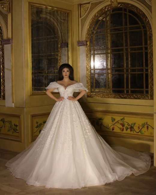 Wedding dress A line with lace | White organza wedding dresses