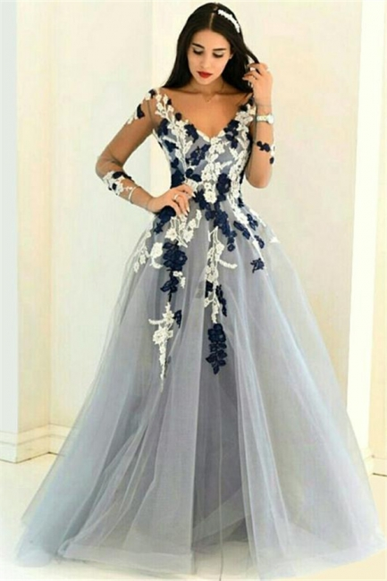Sexy Prom Dresses Long A Line Lace Tulle Evening Wear Evening Dresses