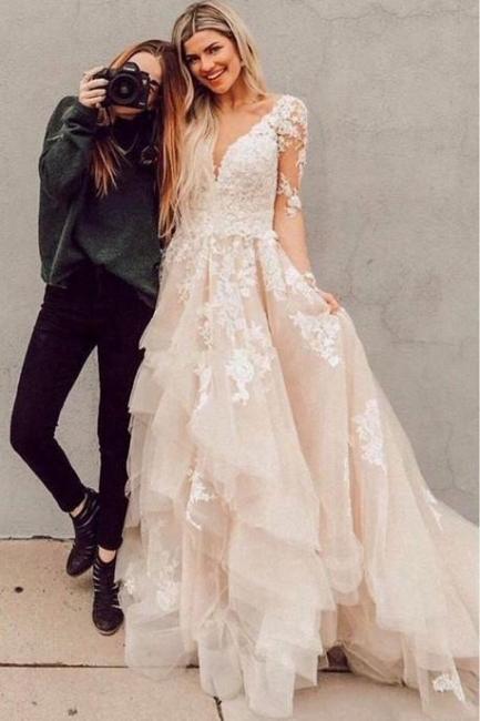 Elegante Brautkkleider mit Ärmel | A Linie Hochzeitskleider mit Spitze