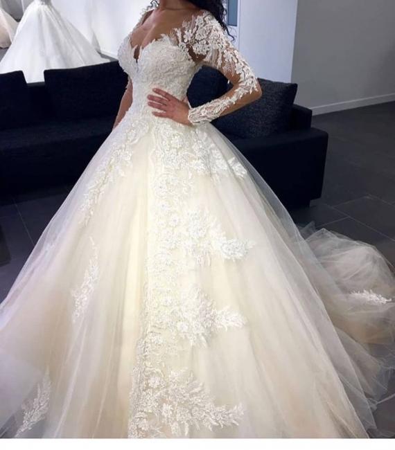 Luxury Brautkleider Mit Ärmel Prinzessin Günstig Hochzeitskleider Spitze