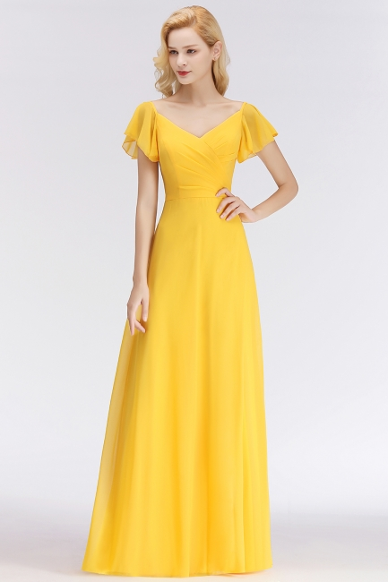 Vintage Bridesmaid Dresses Long Chiffon Bridesmaid Dress Yellow
