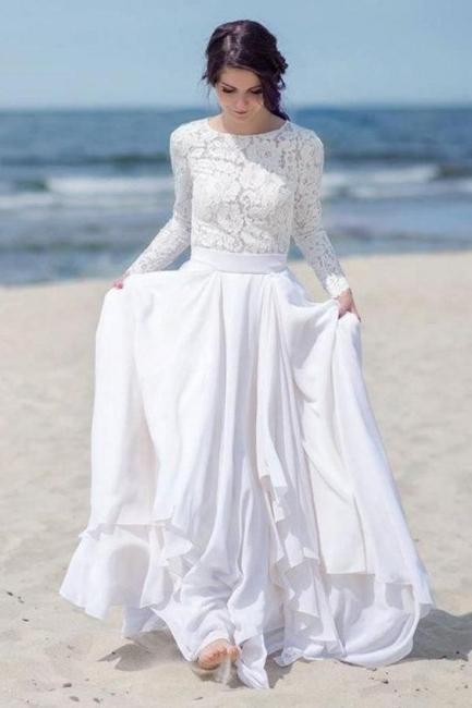 Elegant white wedding dresses with sleeves euit dresses lace wedding dress online