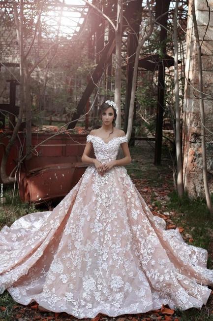 Luxury Rosa Hochzeitskleider Mit Spitze Schuterfrei A Line Brautkleider Günstig Online Kaufen