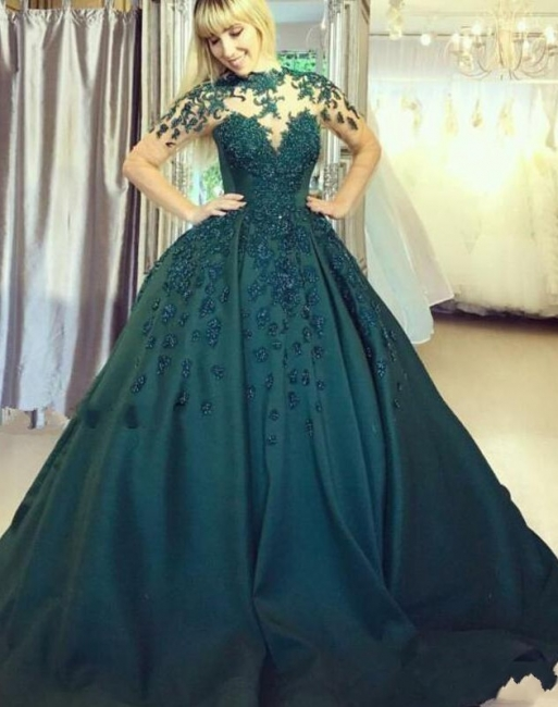 Elegant evening dresses long green | Floor length prom dresses online