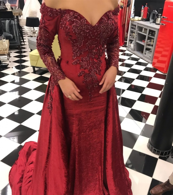 Wine red evening dresses with sleeves | Red prom dresses online