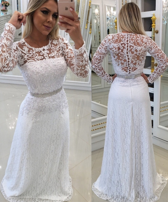 Elegant evening dress white long cheap with lace sheath dress prom dresses with sleeves