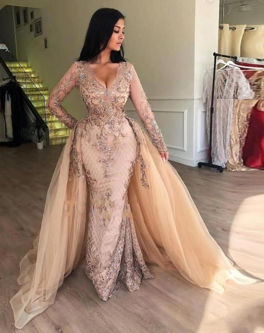 Fashion Abendkleider Lang Mit Ärmel Spitze Abendmoden Abiballkleider Online