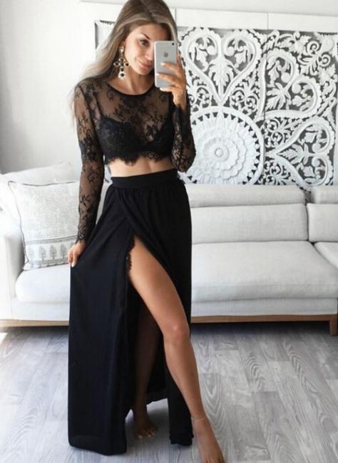 2 Treiler Black Evening Dresses Long Sleeves Lace Chiffon Prom Dresses Evening Wear