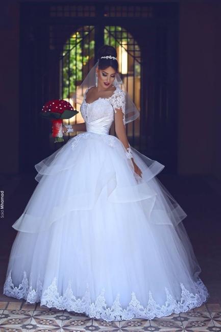 Prinzessin Brautkleider Weiß Mit Ärmel Spitze Hochzeitskleider Brautmoden
