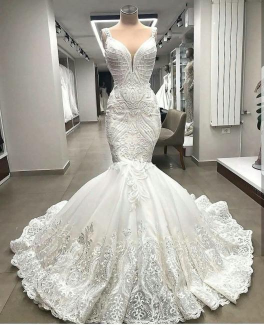 Modern Wedding Dresses Lace Mermaid Cheap Bridal Wedding Dresses