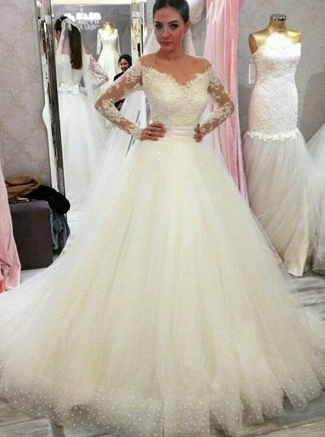 Cheap wedding dresses with sleeves | Wedding dress A line lace