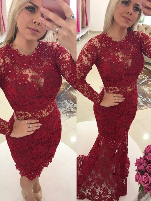 Designer Red Evening Dresses Lace With Sleeves Mermaid Prom Dresses Evening Wear Online