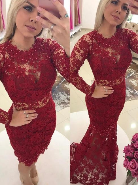 Designer Rote Abendkleider Spitze Mit Ärmel Meerjungfrau Ballkleider Abendmoden Online