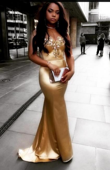 Elegante Gold Abendkleider Lang Günstig Meerjungfrau Perlen Abiballkleider Online