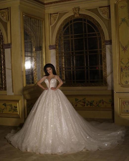 Luxury wedding dress with sleeves | Princess wedding dress with glitter