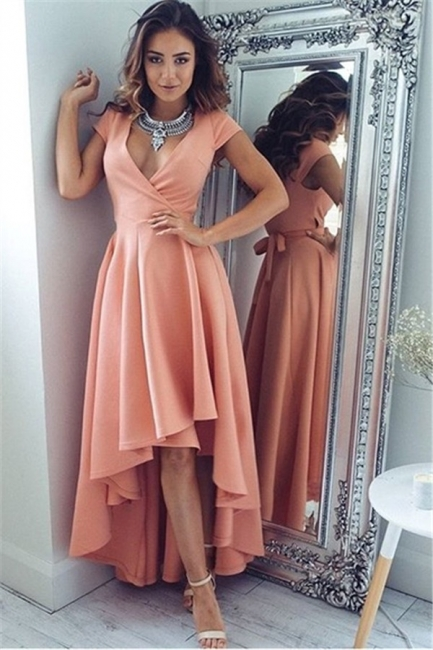Coral Cocktail Dresses Front Short Behind Long With Sleeves Party Dresses Prom Dresses