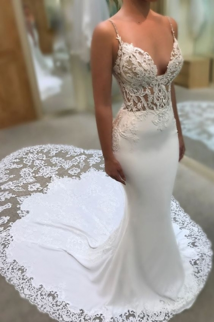 Designer Wedding Dresses With Lace Spaghetti Straps Wedding Gowns White Online