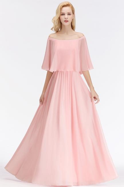 Elegant Bridesmaid Dresses Long Pink Chiffon Dresses For Bridesmaids