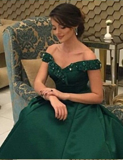 Fashion Dark Green Evening Dresses Long A Line Floor Length Evening Wear Prom Dresses