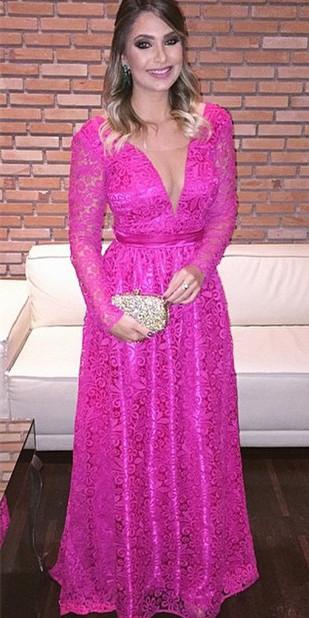 Fuchisa Evening Dresses Long Sleeves V Neckline Evening Wear Prom Dresses Cheap
