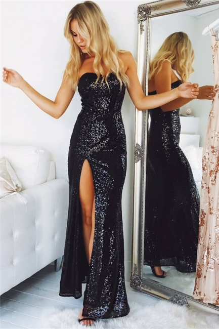 Sexy Black Evening Dresses Long Sequins Mermaid Prom Dresses Evening Wear Cheap