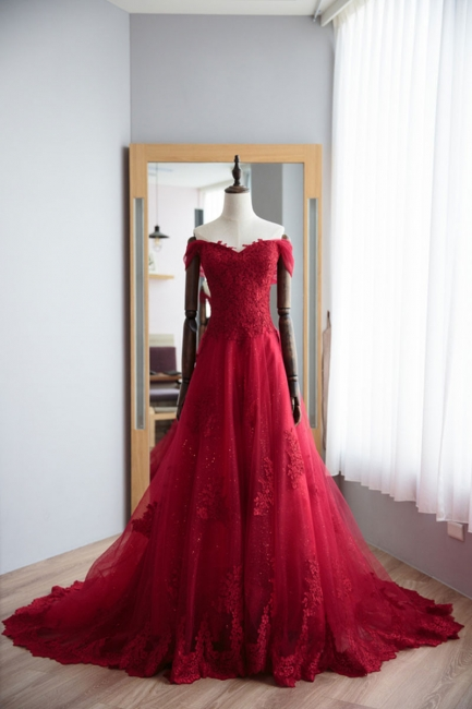 Fashion Dark Red Evening Dresses Long With Lace A Line Prom Dresses Online