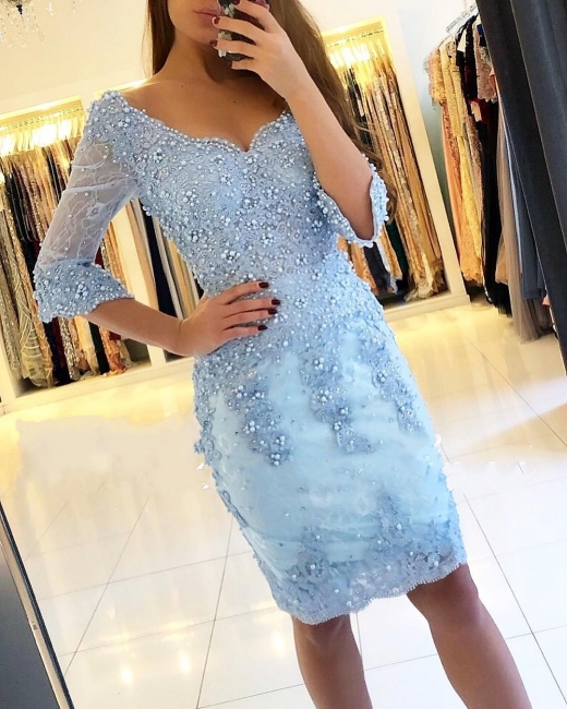 Light blue cocktail dresses short | Lace evening dresses with sleeves