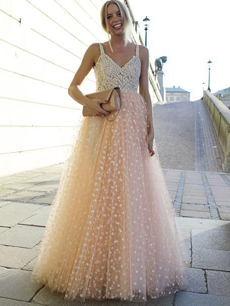 Elegante 2 Farbige Abendkleider Lang Günstig Spitze A Line Abendmoden Online