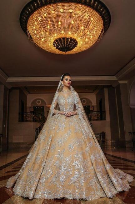 Luxus Hochzeitskleider Gold | Brautmoden A linie mit Spitze