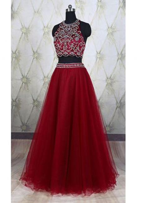 Wine Red 2 Piece Evening Dresses Prom Dresses Straps A Line Tulle Prom Dresses Evening Wear