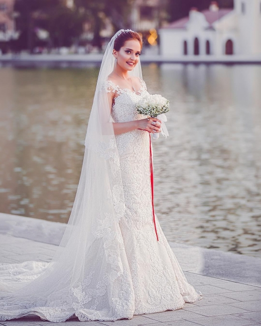 Simple White Wedding Dresses With Lace Mermaid Cheap Wedding Dresses Online