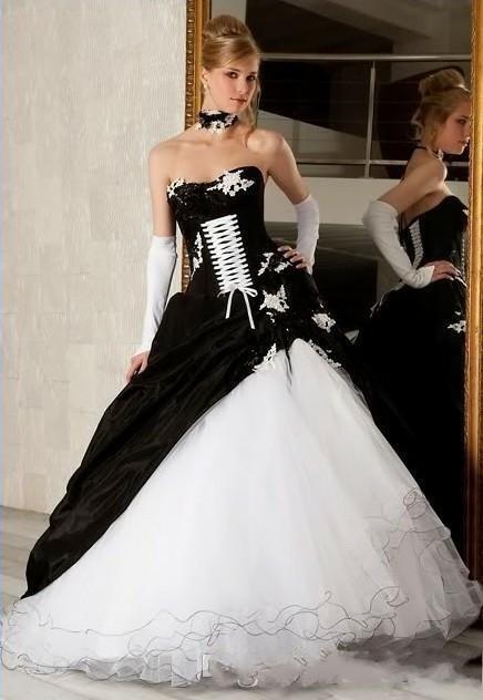 Elegante Schwarz Weiße Brautkleider A Linie Hochzeitskleider Online