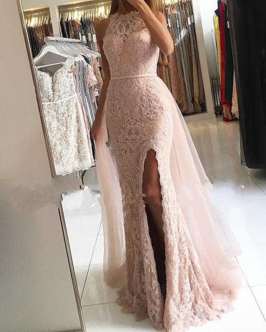 Designer Evening Dresses Long Pink | Lace evening wear floor-length cheap