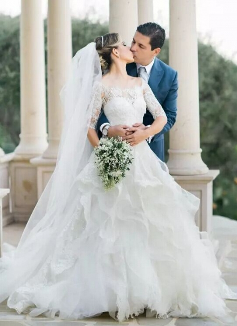 White Wedding Dresses Long Sleeves Lace A Line Organza Bridal Wedding Dresses With Train